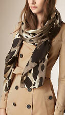 NEW $495 Burberry Animal Print Dark Stone Satin Silk Scarf Shawl Wrap,190 x 70cm
