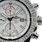 Breitling Super Avenger Watch A13370 White Sticks Dial 2.00ct 2 Row Bezel
