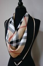 Burberry Check Beige Black 100% Silk Women's Authentic Scarf
