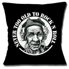 """NEW 'NEVER TOO OLD TO ROCK 'N' ROLL' MAN IN HEADPHONES 16"""" Pillow Cushion Cover"""