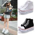 Women Girl High Top Canvas Lace Up Comfort Platform Trainer Sneaker Casual Shoes