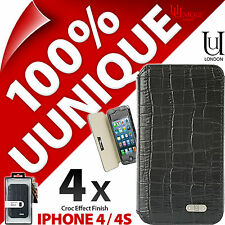 4 x Uunique Croc Folio Case Cover for iPhone 4 / 4S Hard Shell Protective Flip