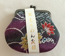 New traditional Japanese gamaguchi coin purse, purple & flower pattern (A274)