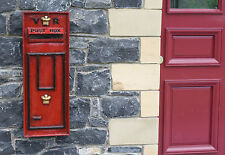 English British VR Royal Mail Red Post Box Front Letter Mail Box Post Office