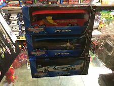 SET OF  3 X TOY TEAMSTERZ CITY COACH BUS EXPRESS  1:50 SCALE RED BLUE AND WHITE