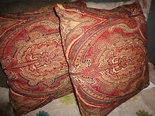 PIER 1 RETRO BEADED JACOBEAN RED CHARCOAL MARRAKESH (PAIR) THROW PILLOWS 18""