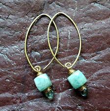 Russian Amazonite Fluorite Gemstone Wire Wrap Briolette Oval Hook Earring Gold