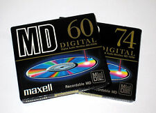 Two (2) Minidisc MAXELL First release MD-60/74 RM '1993 (new and sealed)