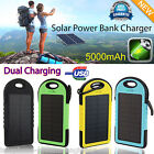 5000mAh Dual-USB Waterproof Solar Power Bank Battery Charger for Cell Phone UK