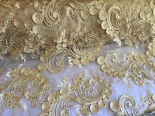 Queens Design Mesh Lace Fabric Gold. Sold By The Yard