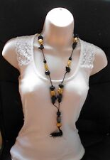 """Black Cord and Chunky Beads Tassel Necklace - 30"""" long"""