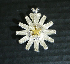 Western Jewelry Bright Silver Spur Rowel Engraved Gold Star Concho Pendant Kit