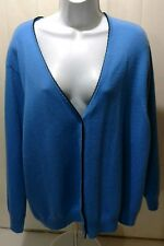 LANDS END 3X 24W 26W PLUS SIZE BLUE BLACK CARDIGAN