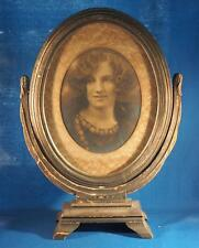 "Antique 10"" x 13"" Oval Hinged Wood Picture Frame w/ Photo"