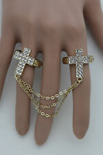New Women Gold Long Metal Chains Fashion Double Rings 2 Fingers Cross Charms Hot