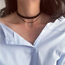 Vintage Gothic Double Cord Leather Choker Punk Triangle Pendant Bib Necklace