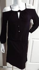 NEW MICHAEL KORS BLACK / SILVER ELEGANT STRETCH LONG SLEEVE DRESS SIZE XS