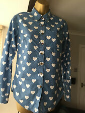 LEE COOPER Ladies 8 Cute love heart print blue fitted shirt / blouse