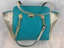 Ladies Womens Fashion Designer Blue Gold Large tote handbag shoulder purse bag