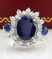 4.65 Natural Blue Sapphire and DIAMOND in 14K Solid White Gold Women Ring
