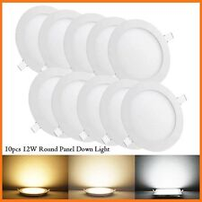 10 Pack 12W Round LED Recessed Ceiling Panel Light Lamp for Bathroom Kitchen