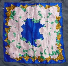 """CHANEL SILK SCARF 38""""X38"""" NAVY BLUE PINK GREEN GOLD ITALIAN CHANEL ROSES FLORAL"""