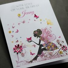 LARGE A5 Handmade Personalised FAIRY Birthday Card sister, friend, mum, daughter
