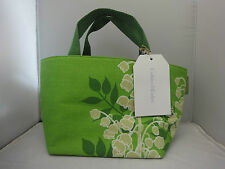 CRABTREE & EVELYN LILY DECORATED FABRIC SATCHEL / LUNCH TOTE BAG