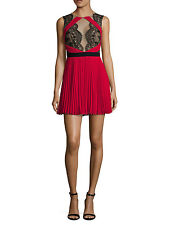 BCBG MAX AZRIA:(2)ARIANNE LACE CONTRAST RED/MULTI FIT N FLARE DRESS NWTMSRP $428