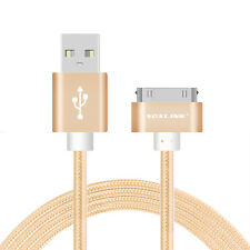 1Pcs Golden 2M Braided Fabric USB Data&Sync Charger Cable Cord For iPhone 4 4S