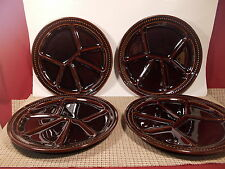 Gien China France Set of 4 Mirrow Brown Divided Grill Dinner Plates 10""