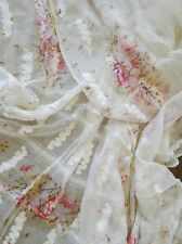 ANTIQUE TEXTILES-CIRCA 1900's, ETHEREAL FINE DAMASK SILK SHAWL W/ROSES