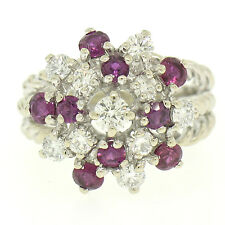 14K White Gold 2.10ctw Diamond & Ruby Cluster Daisy Twisted Wire Cocktail Ring