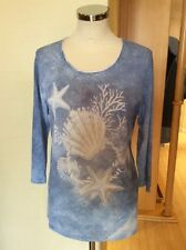 Gerry Weber Top Size 10 BNWT Blue Cream 3/4 Sleeves RRP £75 NOW £30