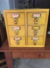 Rare Vintage 6 Drawer  Oak Card Catalog Cabinet Library Gaylord Brass