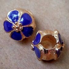 2PC Rose Gold Plated Dark Purple Cherry Blossom Flower European Spacer Charms