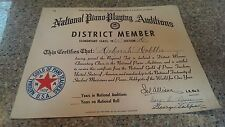 NATIONAL PIANO PLAYING AUDITIONS District Winner Certificate 1965 Elementary