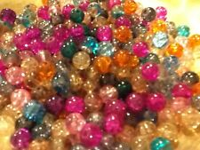 CRACKLE CRYSTAL GLASS BEADS, SOLD BY 50 SPACERS, CHARMS 8MM ASSORTED COLORS