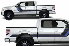 Vinyl Decal Rally Stripe Wrap Kit for Ford F-150 2009-2014 Gloss Black and Blue