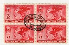 USA STAMP #985 – 1949 3c Grand Army of the Republic NEWARK  CANCEL BLK OF 4