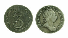 pcc1359_6) Great Britain England, George III, 3 Pence, 1762 Toned