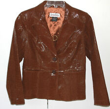 Bradley Bayou100% Leather Jacket Sz Small Brown Embossed Faux Crocodile Finish