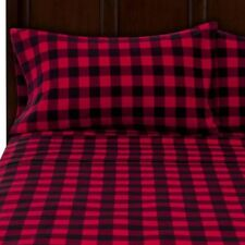 Queen Flannel Sheet Set Bedding Sheets Pillow 100% Cotton Red Plaid