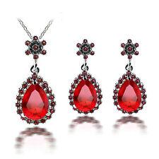 Vintage Style Dark Red Drop Women Jewellery Set Stud Earrings & Necklace S843