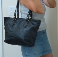 Delfino Large Leather Tote Black Shopper Bookbag Carry All Hobo Bag Colombian
