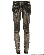 BALMAIN Women's black and  Gold Painted Biker JEANS. UK 8/36 BNWT. RRP £950