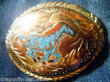 Mexican Silver Belt Buckle with Turquoise Inlay Horse