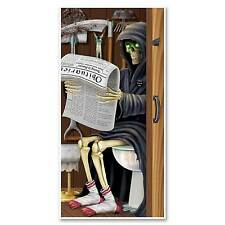 Funny GRIM REAPER TOILET BATHROOM WALL DOOR COVER Fun Halloween Party Decoration