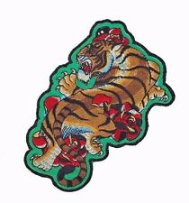 Large Tiger Embroidered Patch Green Japanese Tattoo Red Roses Iron on Applique