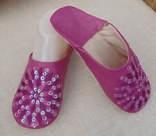 MOROCCAN * MAGENTA LEATHER SEQUINED SLIPPERS * 8/42*